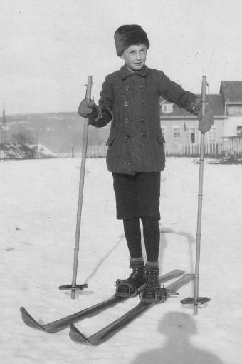 Artur Beul, zum ersten Mal auf Ski (1928)