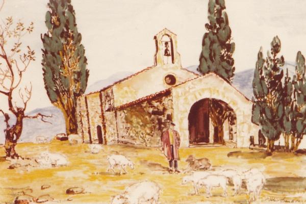 Schafhirte vor Kapelle, 1980